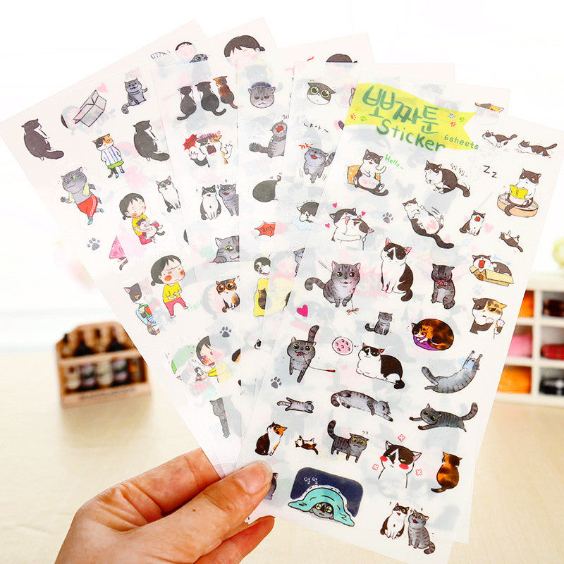 Cute Korean Cat Stickers 6-pack