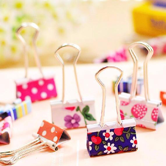 Cute Pattern Metal Binder Clips 6 Pack