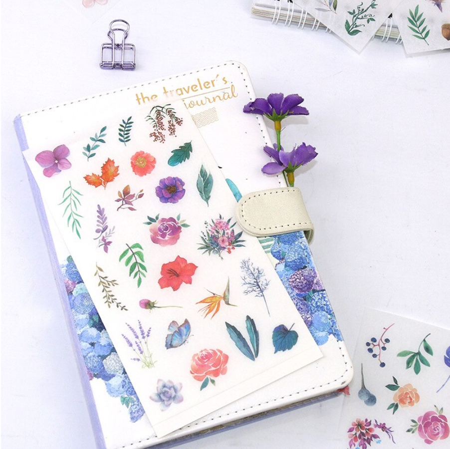 Planners Bullet Journaling Junk Journal Knaid Watercolor Flower Stickers Set Calendars and Notebook Assorted 36 Sheets Album Kid DIY Arts Crafts - Decorative Sticker for Scrapbooking