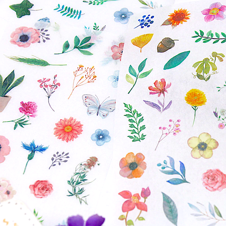 Watercolor Flowers Sticker Set - 6 Sheets