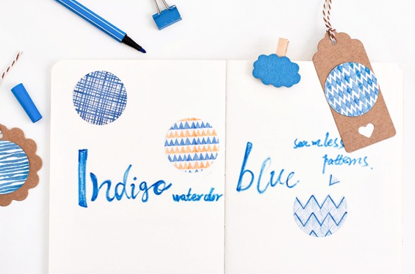 Blue Watercolor Decorative Sticker Set 4