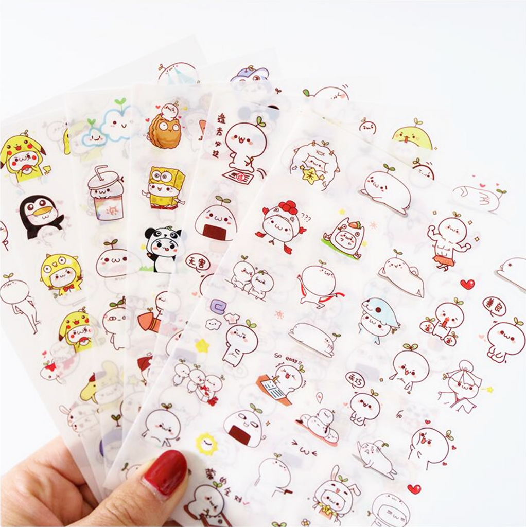 Cute Budding Pop Stickers 6 Pack Kawaii Pen Shop