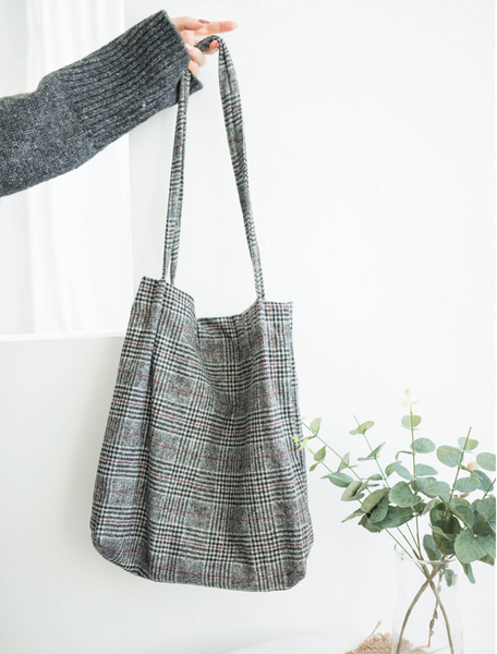 Japanese Style Woolen Plaid Tote Bag for college school