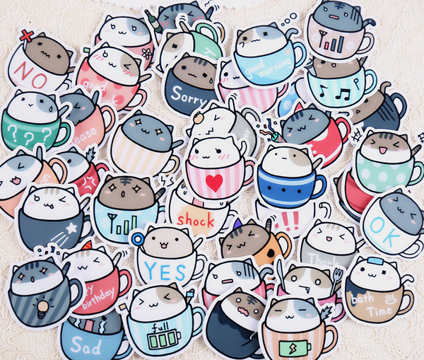 Cat in Cup Stickers 5