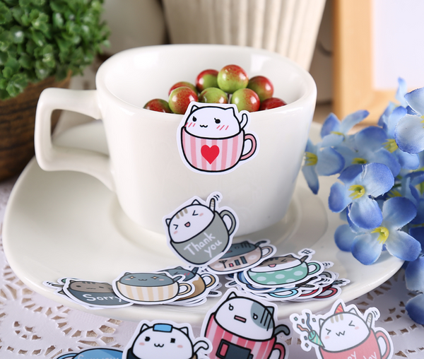 Cat in Cup Stickers 3