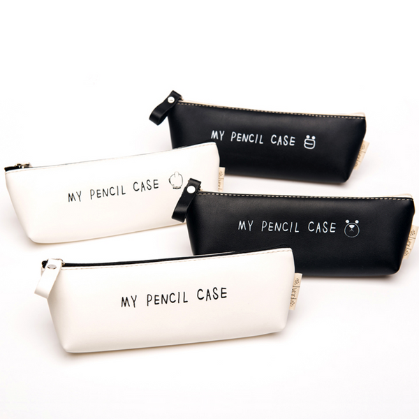 Classic Black and White Leather Pencil Case 2