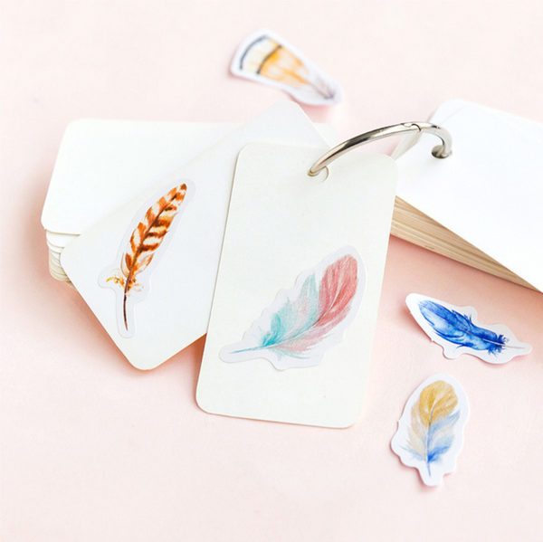 Colorful Feather Paper Stickers 2