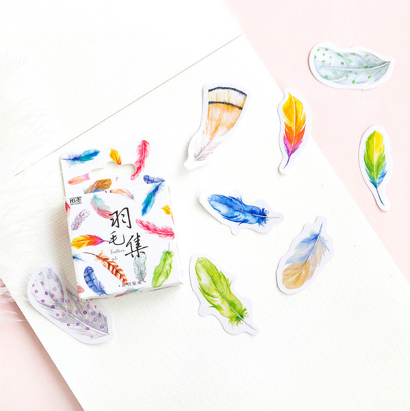 Colorful Feather Paper Stickers 3