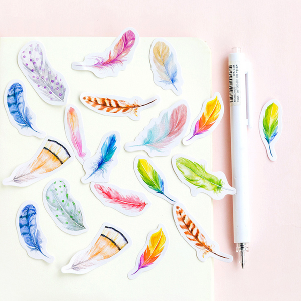 Colorful Feather Paper Stickers