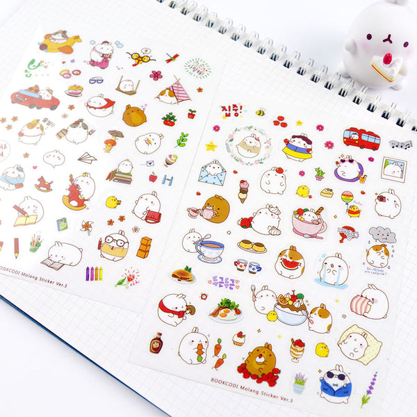 Creative Molang Rabbit Stickers 6-pack