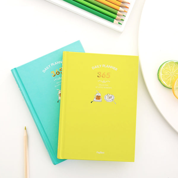 365 Days Personal Planner - Bright Colors - Mint & Yellow