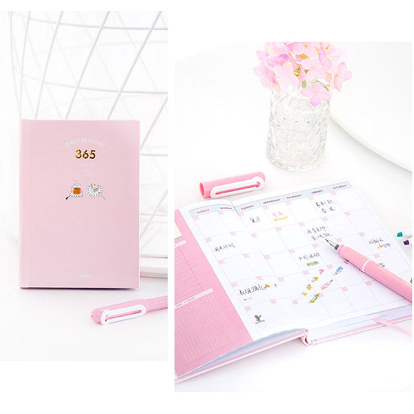 365 Days Personal Planner - Bright Colors - Pink