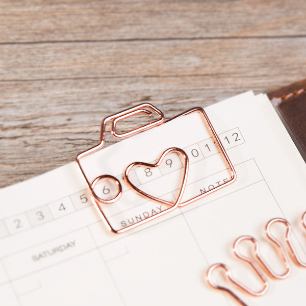 Rose Gold Camera Paper Clip