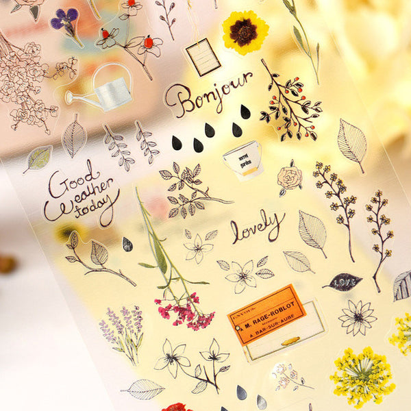 Vintage Flowers Plastic Stickers