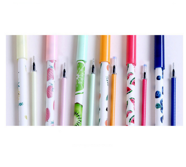 Fruit Party Gel Ink Pen Set + Refills 6