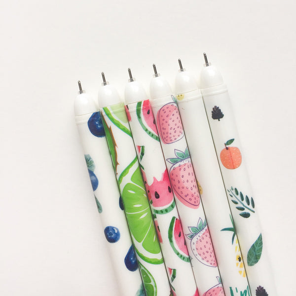 Fruit Party Gel Ink Pen Set + Refills 10