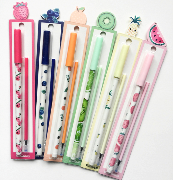 Fruit Party Gel Ink Pen Set + Refills 3
