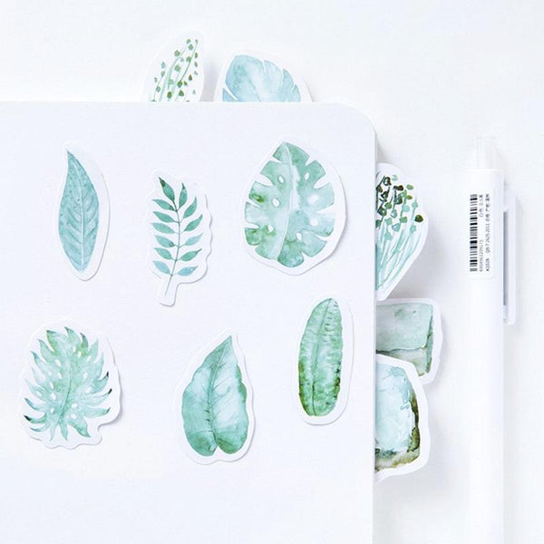Green Leaves Paper Stickers 2