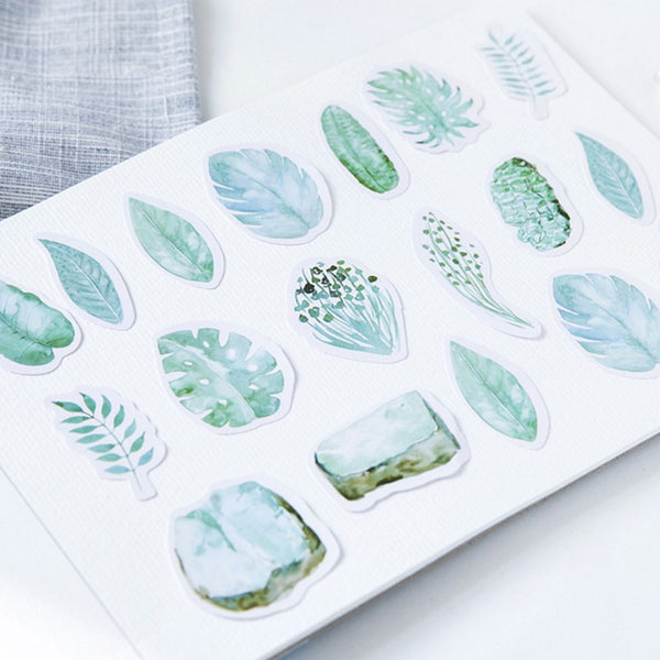 Green Leaves Paper Stickers 3