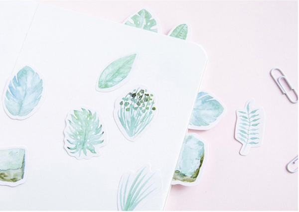 Green Leaves Paper Stickers 5