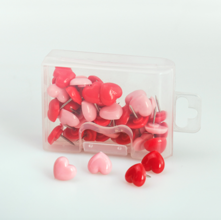 Heart Shaped Push Pins Red