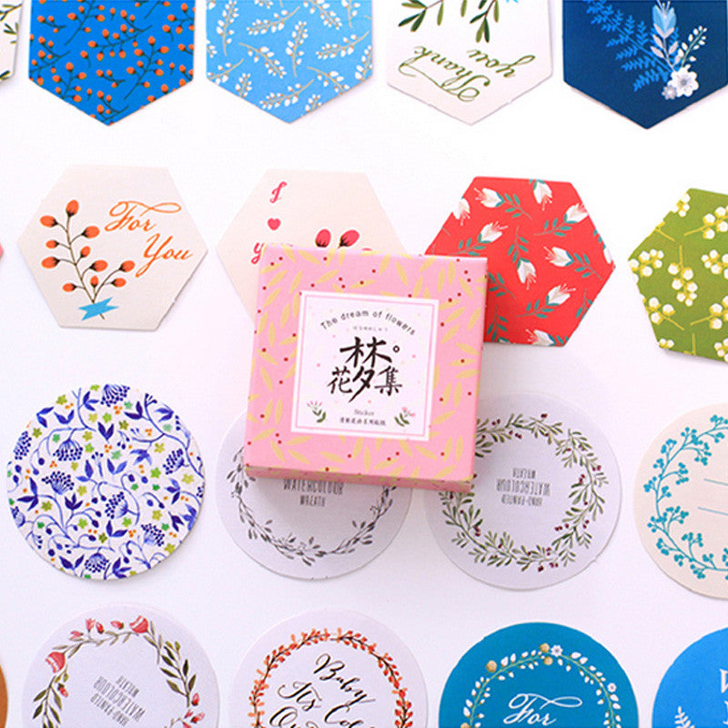 Japanese Decorative Paper Sticker Set: Flowers