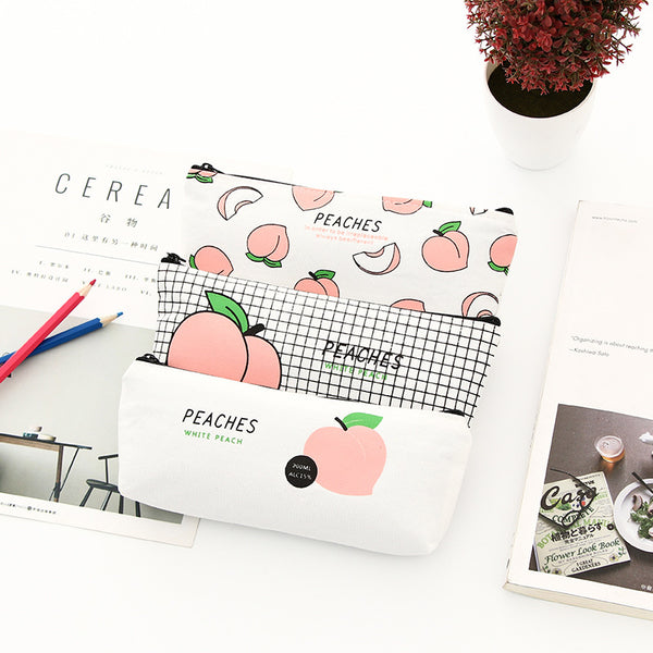 Keep it Peachy Canvas Pencil Case