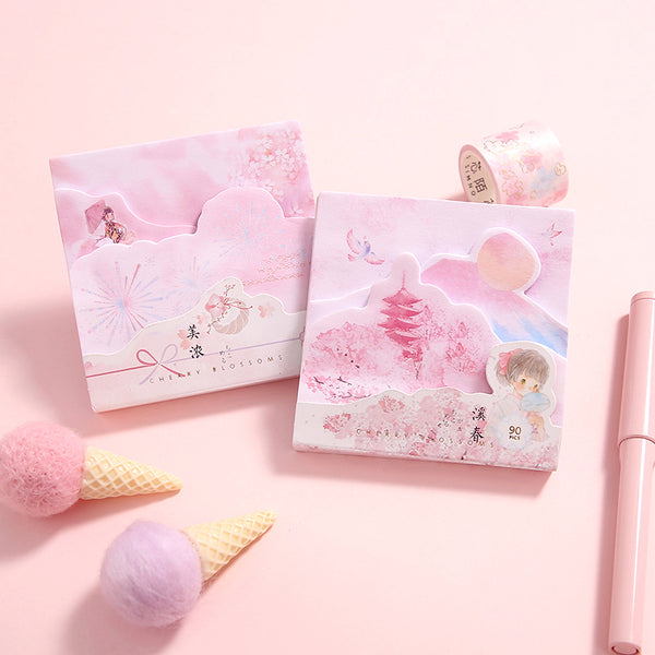 Layered Cherry Blossom Sticky Notes