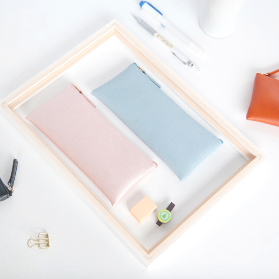Minimal Design Leather Pencil Case