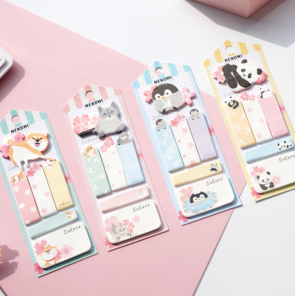 Nekoni Sakura & Animals Sticky Note Set