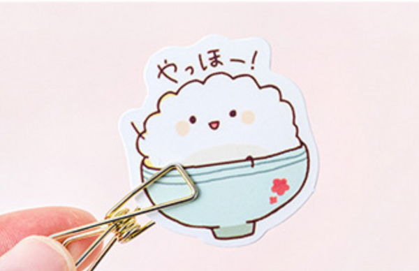 Cute Rice Bowl Decorative Paper Stickers