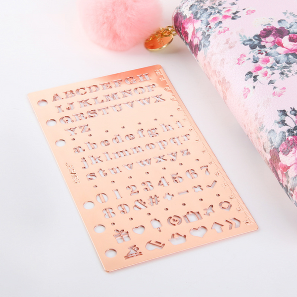 Rose Gold Planner Stencil & Ruler 4