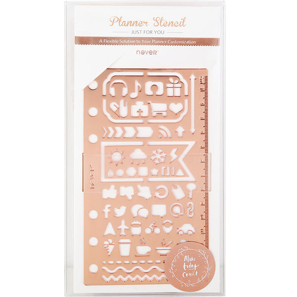 Rose Gold Planner Stencil & Ruler 7
