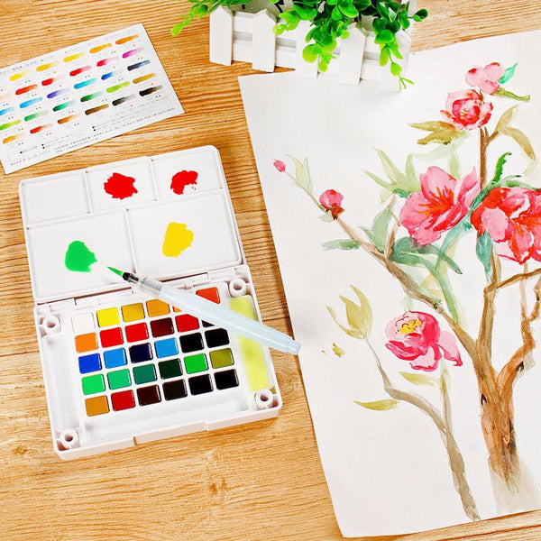 Sakura Petit Color Watercolor Field Sketch Box Set - 30 Color Palette + Water Brush 2