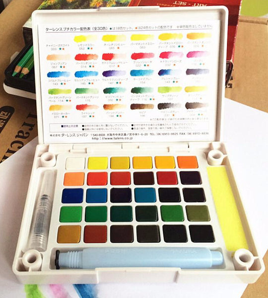 Sakura Petit Color Watercolor Field Sketch Box Set - 30 Color Palette + Water Brush 8