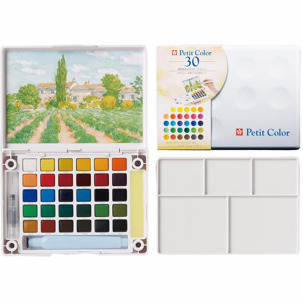 Sakura Petit Color Watercolor Field Sketch Box Set - 30 Color Palette + Water Brush
