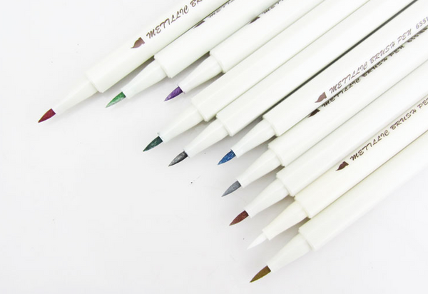 Metallic Shade Fine Brush Color Pens 10-pack