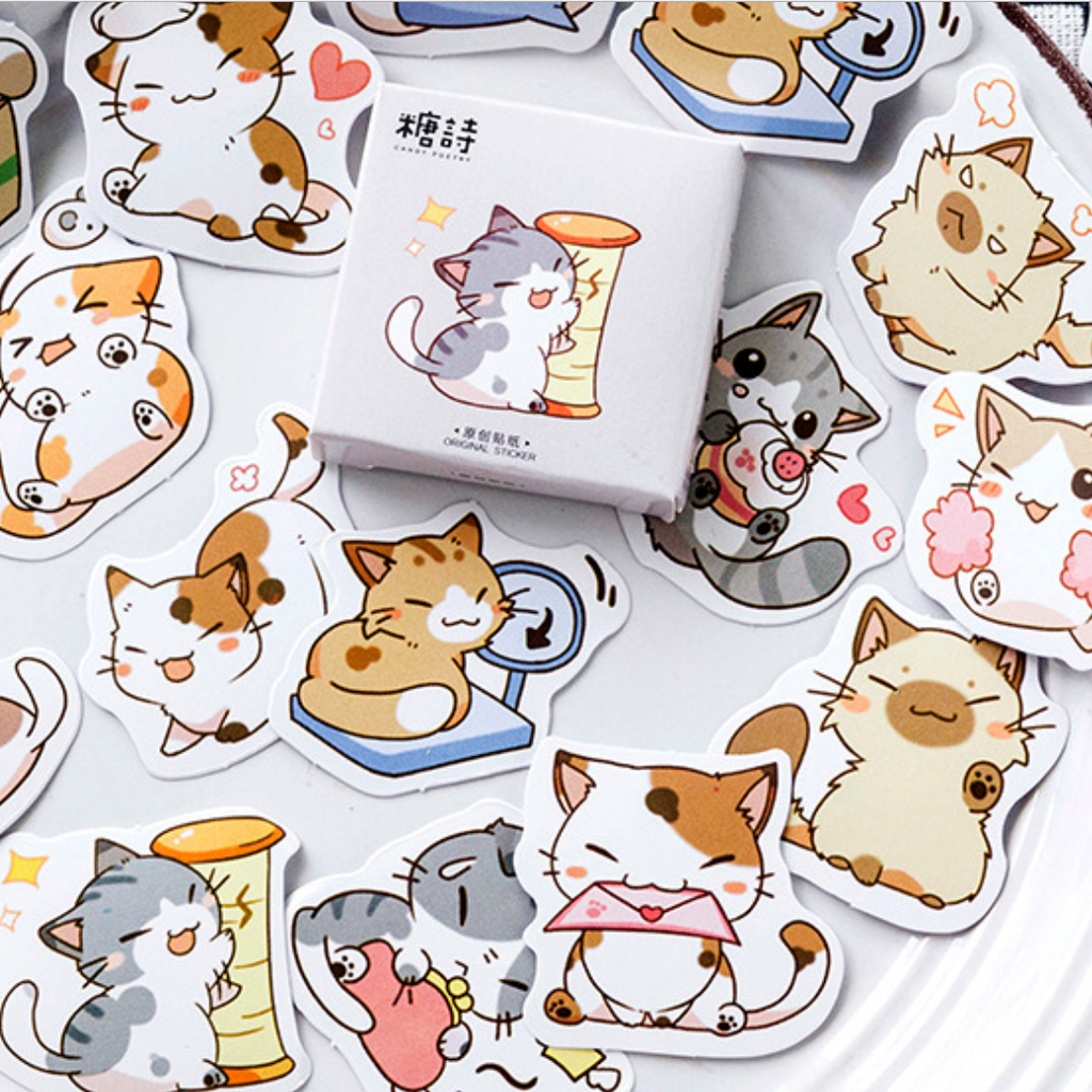 Cute Chibi Cat Paper Stickers
