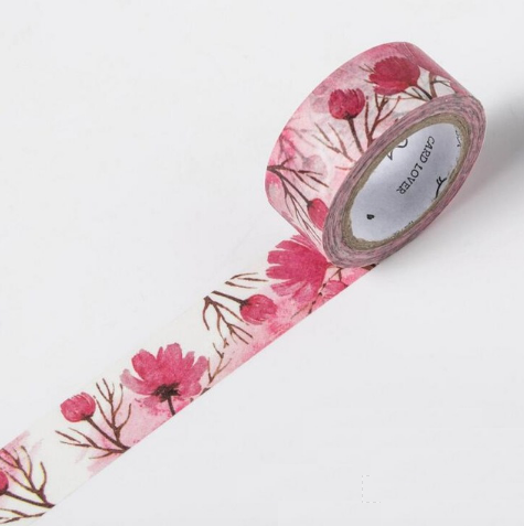 Shades of Red Washi Tape Blooming Flowers