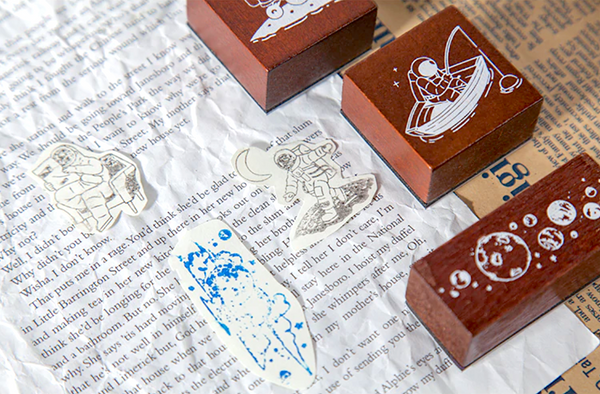 Spaceman Wooden Stamps