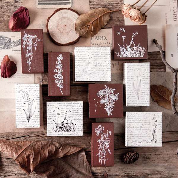 Summer Flower Wooden Stamps