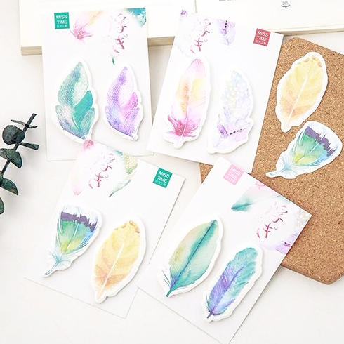 Watercolor Feather Sticky Bookmarks