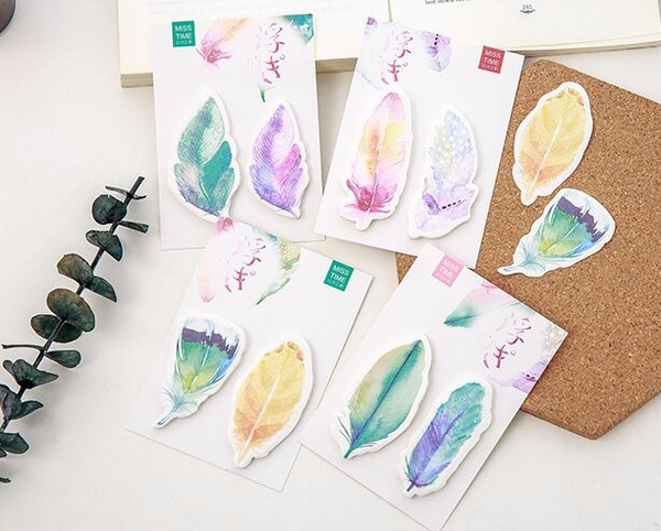 Watercolor Feather Sticky Bookmarks 2