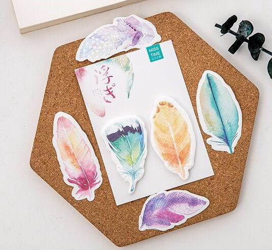 Watercolor Feather Sticky Bookmarks 3