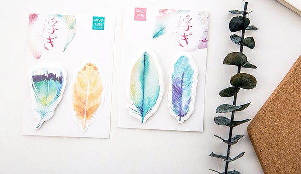 Watercolor Feather Sticky Bookmarks 1