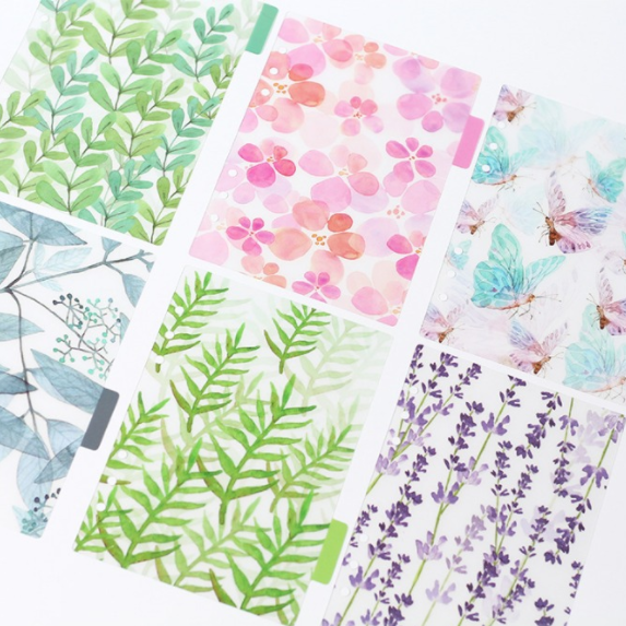 A5/A6 Watercolor Nature Planner Dividers