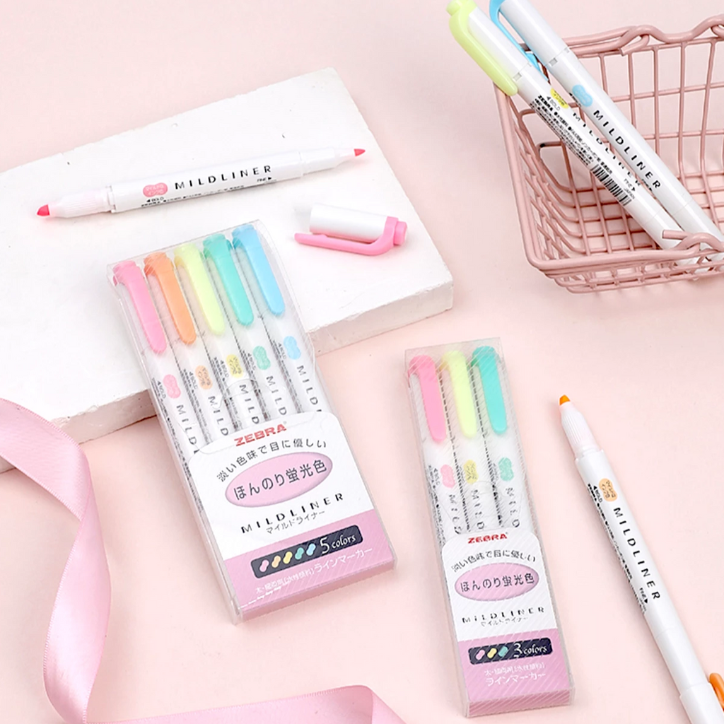 Zebra Mildliner Double Sided Highlighters - 5 Pastel Color Set