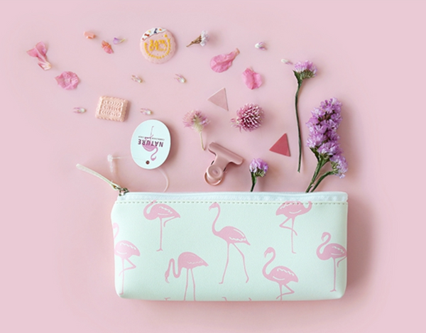 Korean Animal Pencil Case - flamingo