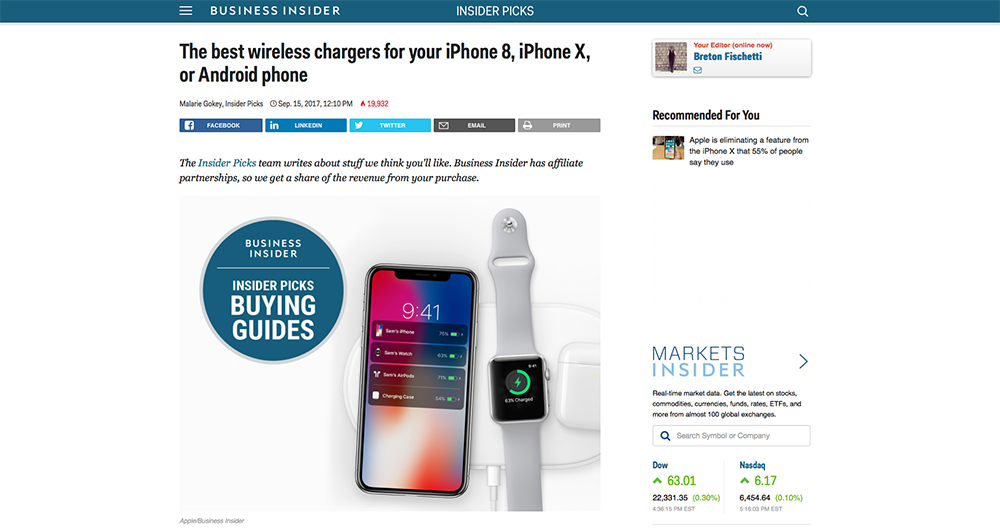 Business Insider BEZALEL wireless charger
