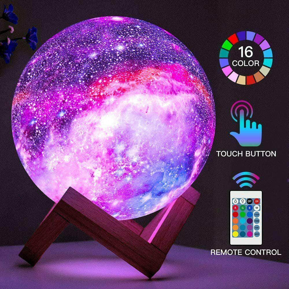 16 Colors LED Moon Lamp Night Light 3D Galaxy